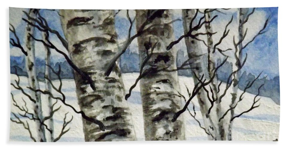 Winter Beach Towel featuring the painting Winter Birches by Brenda Brown