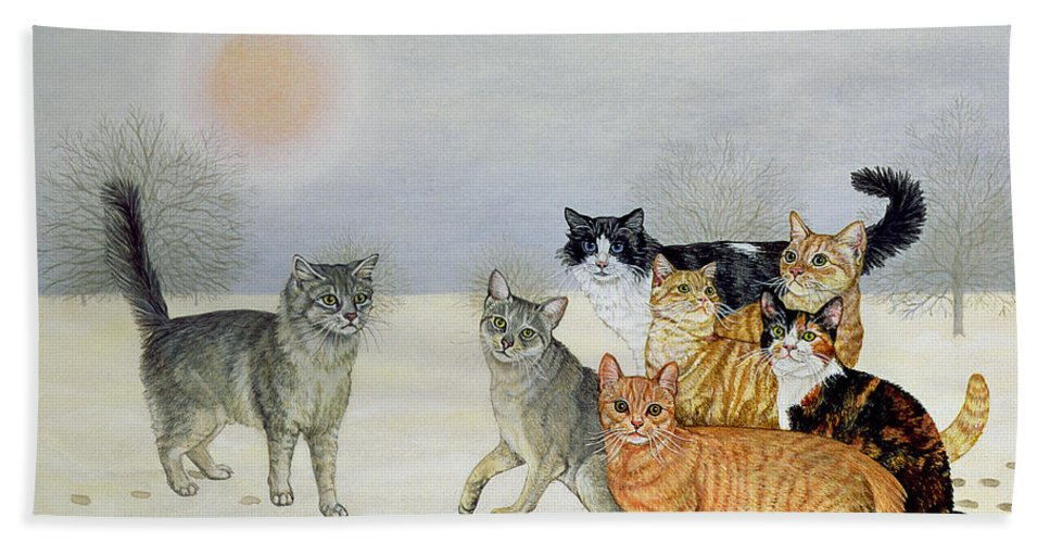 Winter Beach Towel featuring the painting Winter Cats by Ditz