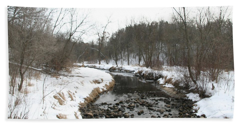 Outdoors Beach Towel featuring the photograph Winter Creek by Susan Herber