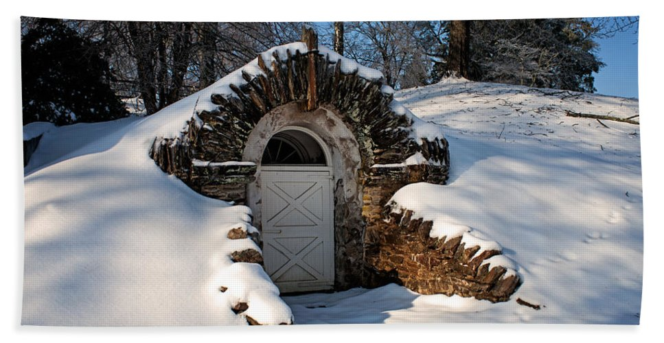Root Beach Towel featuring the photograph Winter Hobbit Hole by Michael Porchik