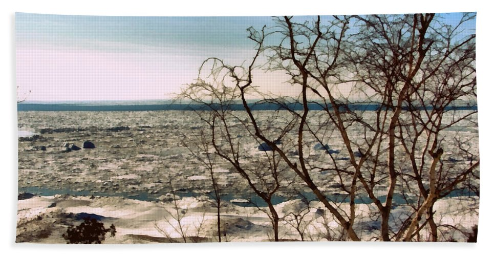 Iceberg Beach Towel featuring the photograph Winter Ice On Lake Michigan by Michelle Calkins