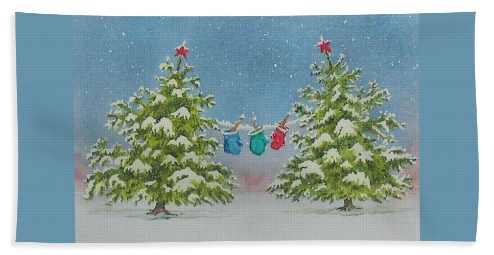 Fun Beach Towel featuring the painting Winter Is Fun by Mary Ellen Mueller Legault