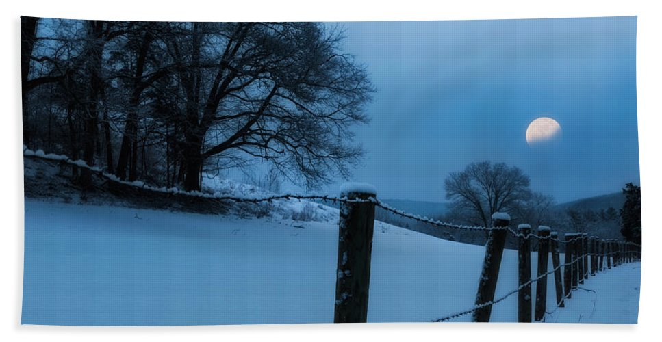 Moon Beach Towel featuring the photograph Winter Moon by Bill Wakeley