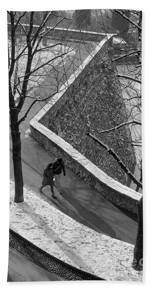 Winter Beach Towel featuring the photograph Winter On The Walls Of Bergamo by Riccardo Mottola