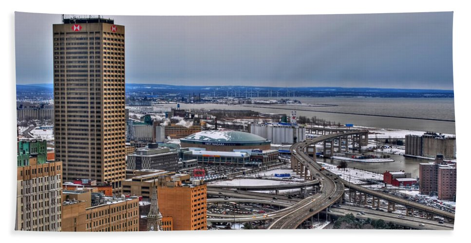 Beach Towel featuring the photograph Winter Skyway Downtown Buffalo Ny by Michael Frank Jr