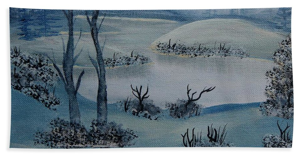 Barbara Griffin Beach Towel featuring the painting Winter Solitude by Barbara Griffin
