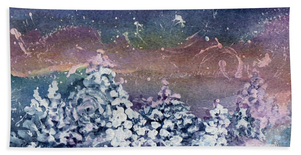 Winter Beach Towel featuring the painting Winter Solstice by Kathy Bassett