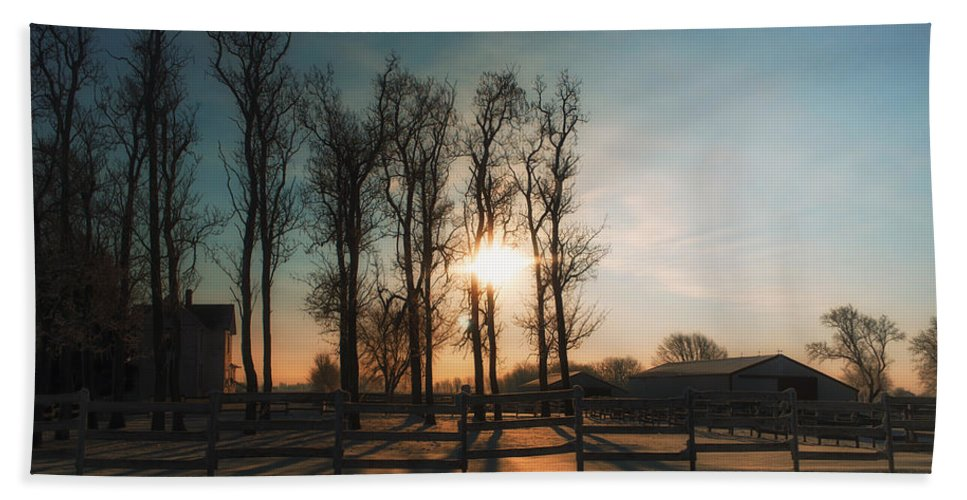 Sunrise Beach Towel featuring the photograph Winter Sunrise On The Farm 01 by Thomas Woolworth