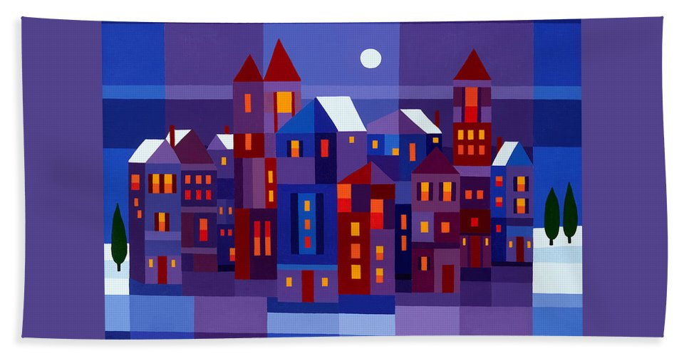 Landscape Beach Towel featuring the painting Winter Town by Michael Jernegan