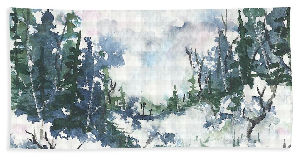 Watercolor Beach Towel featuring the painting Winter Walk by Conni Reinecke
