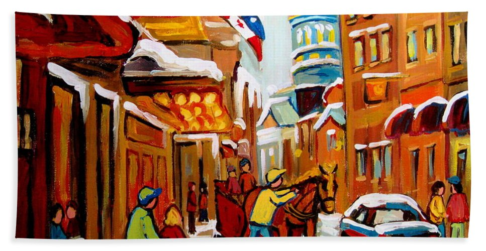 Montreal Beach Towel featuring the painting Winter Walk Montreal by Carole Spandau