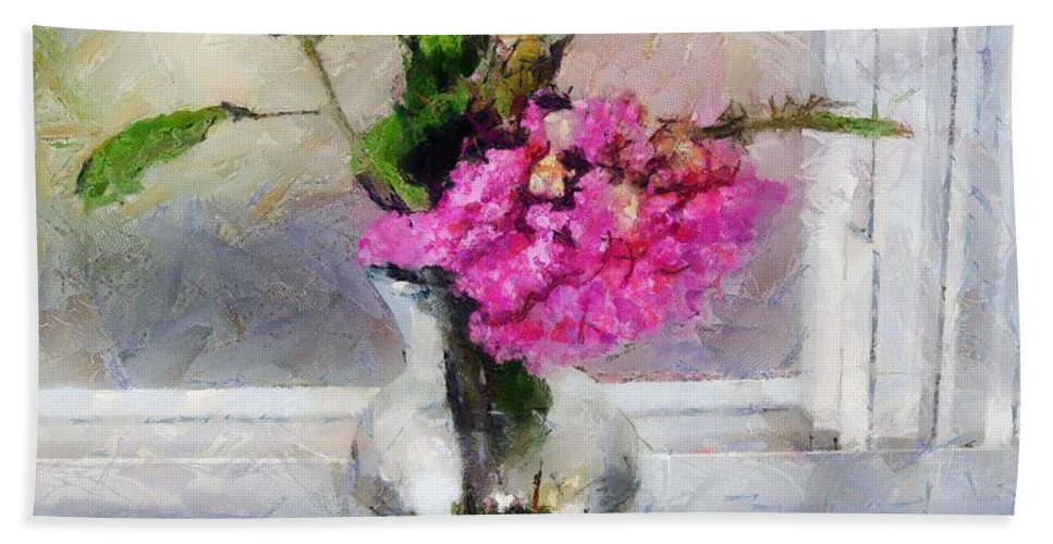 Flowers Beach Towel featuring the painting Winter Windowsill by RC DeWinter