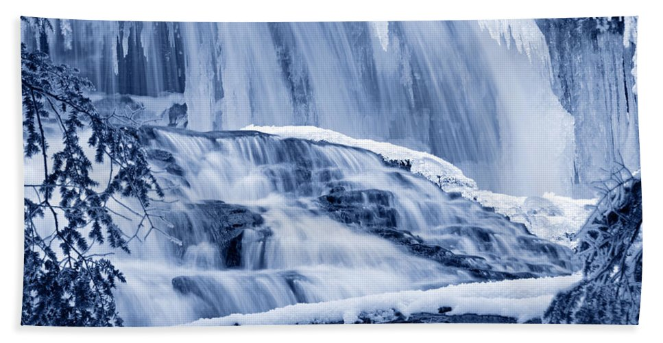 Waterfall Beach Towel featuring the photograph Winter Wonderland Waterfall Blues by John Stephens