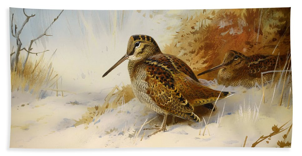 Seasons Beach Towel featuring the painting Winter Woodcock by Mountain Dreams