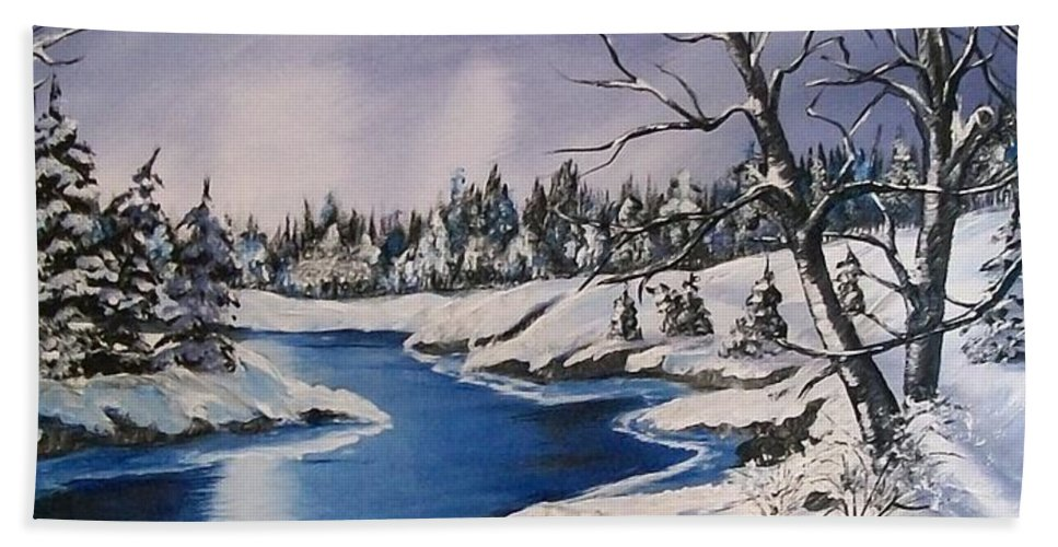 Snow Beach Towel featuring the painting Winter's Blanket by Sharon Duguay