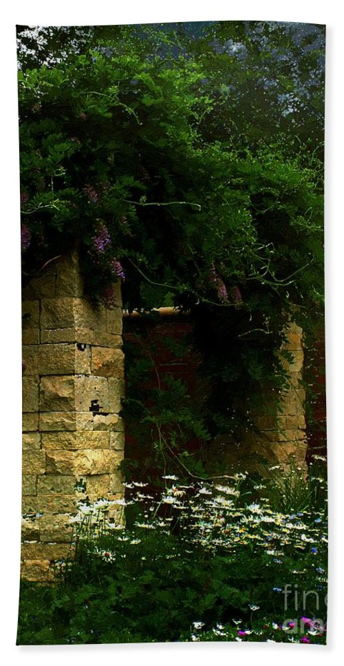Arch Beach Towel featuring the painting Wisteria In Moonlight by RC DeWinter