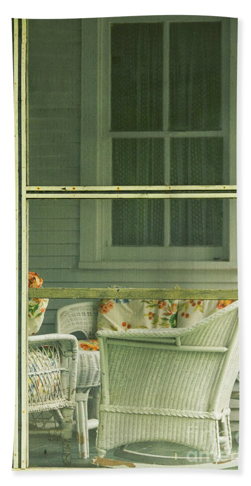 Chair Beach Towel featuring the photograph Within The Screened Porch by Margie Hurwich