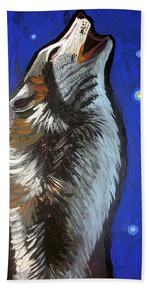Wolf Beach Towel featuring the painting Wolf Howl by Genevieve Esson