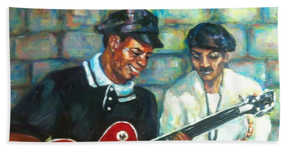 Guitar Beach Towel featuring the painting Wolfman by Beverly Boulet