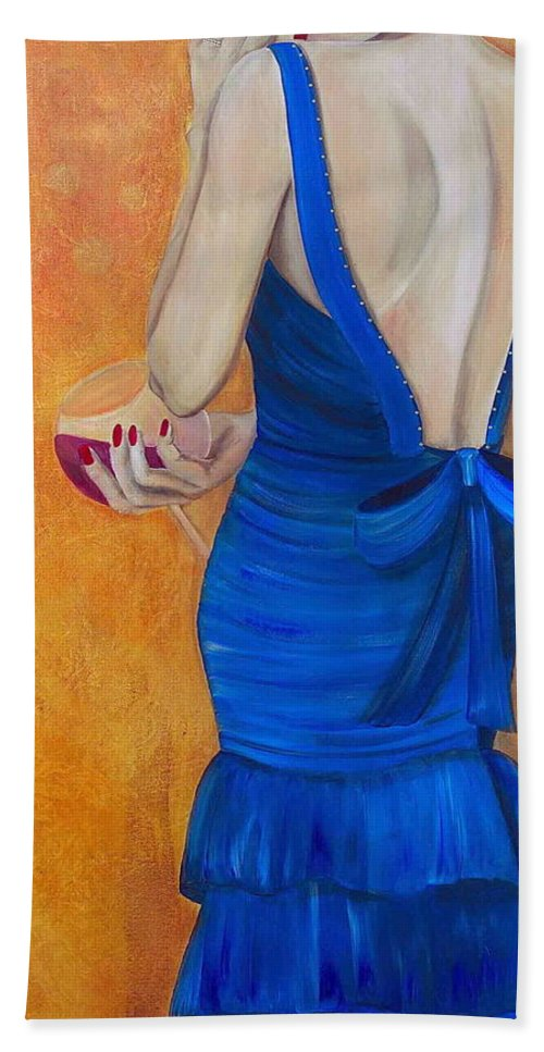 Woman Beach Towel featuring the painting Woman In Blue by Debi Starr