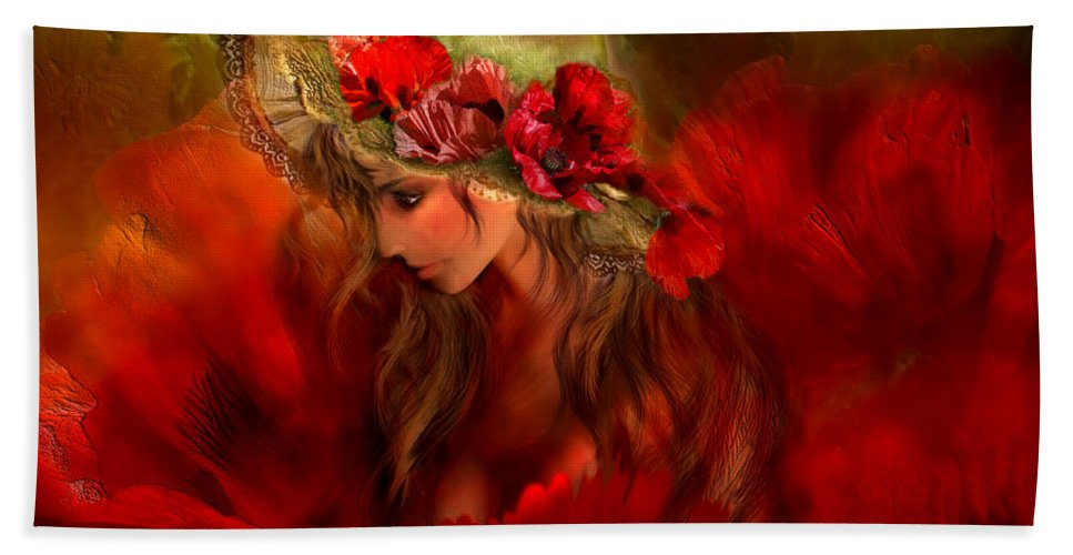 Carol Cavalaris Beach Towel featuring the mixed media Woman In The Poppy Hat by Carol Cavalaris