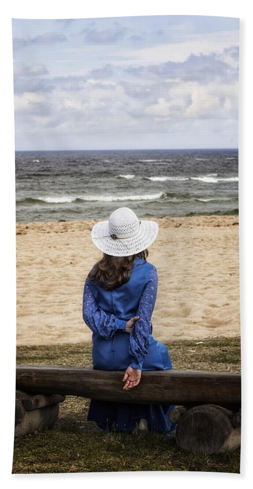 Woman Beach Towel featuring the photograph Woman On A Bench by Joana Kruse