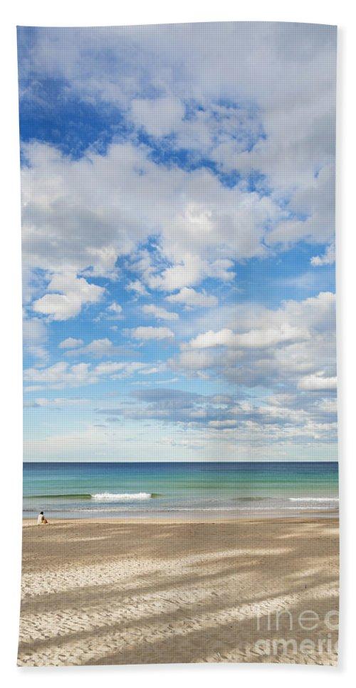 Australia Beach Towel featuring the photograph Woman On Manly Beach In Sydney Australia by Jacek Malipan