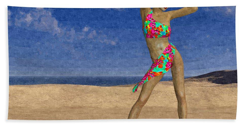 Woman Beach Towel featuring the digital art Woman On The Beach... by Tim Fillingim