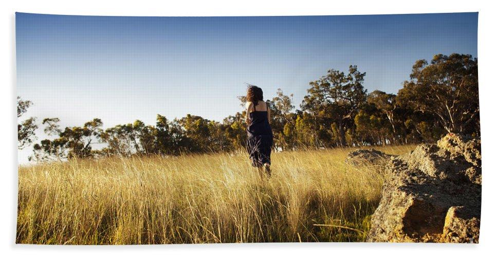 Australia Beach Towel featuring the photograph Woman Running Through Field by Tim Hester