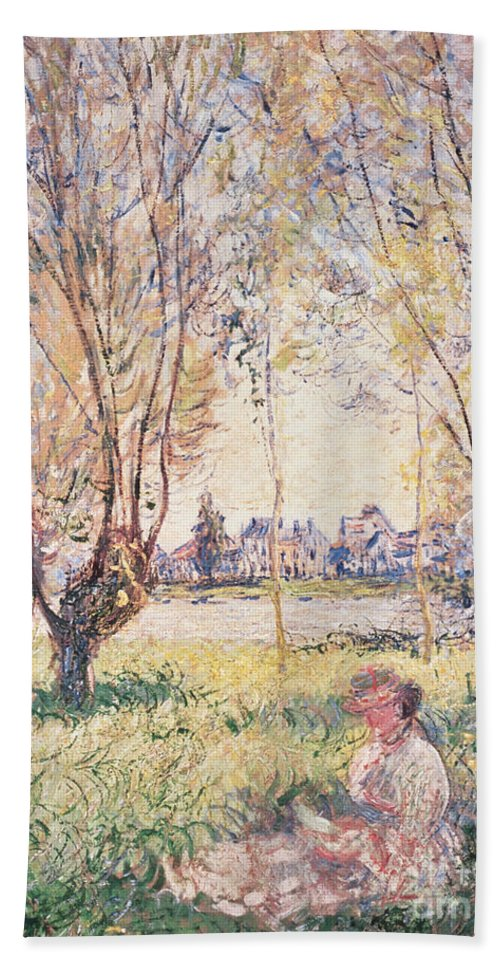 Claude Monet Beach Towel featuring the painting Woman Seated Under The Willows by Claude Monet