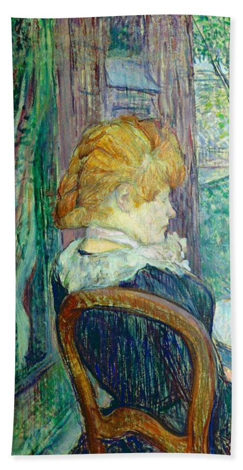 Toulouse-lautrec Beach Towel featuring the painting Woman Sitting In A Garden by Henri de Toulouse-lautrec
