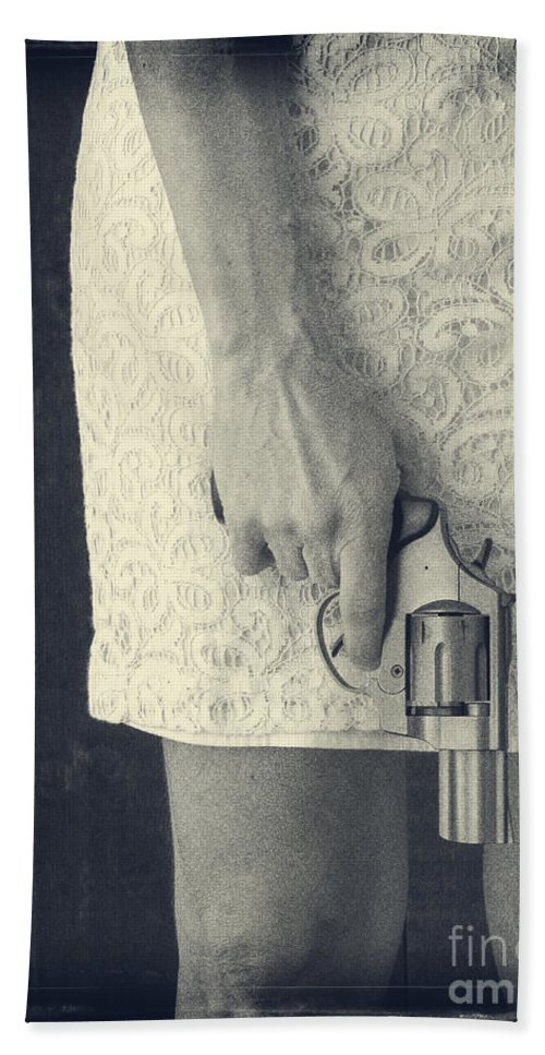 Pistol Beach Towel featuring the photograph Woman With Revolver by Edward Fielding