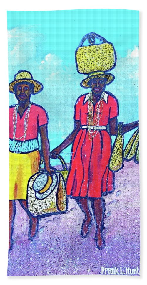 Granada Beach Grand Anse Yellow Basket On Head Black Women Two Red Dress Yellow Skirt Hat Beach Towel featuring the painting Women On Beach At Grenada by Frank Hunter