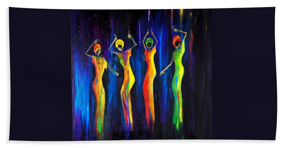 Women Paintings Beach Towel featuring the painting Womens Day Celebration In South Africa by Marietjie Henning