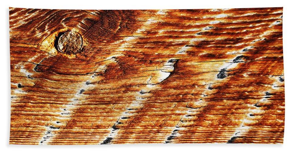 Becky Furgason Beach Towel featuring the photograph #woodgrain by Becky Furgason