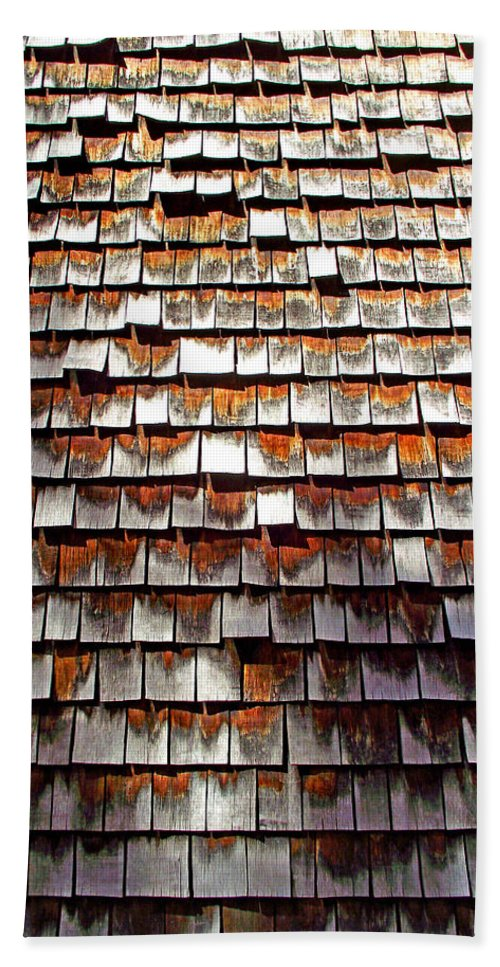 Wood Beach Towel featuring the photograph Wood Roof Shingles by Duane McCullough