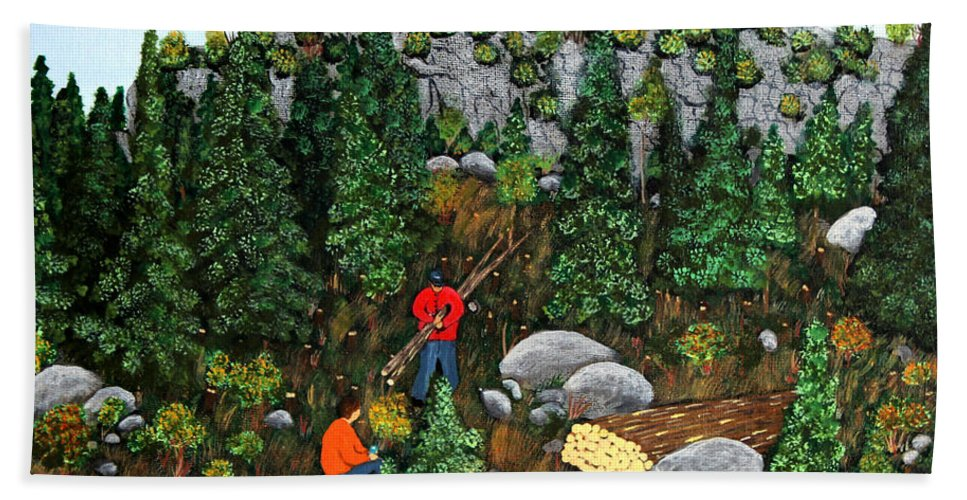 Barbara Griffin Beach Towel featuring the painting Woodcutters And Black Lab by Barbara Griffin