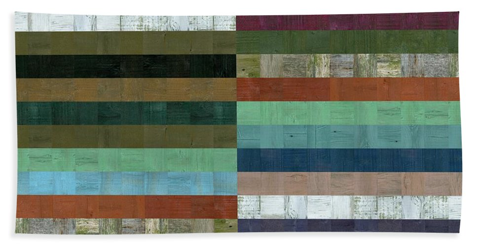 Abstract Beach Towel featuring the digital art Wooden Abstract Lx by Michelle Calkins