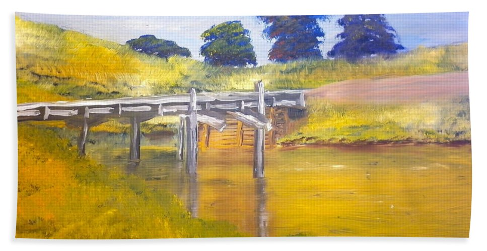 Impressionist Beach Towel featuring the painting Wooden Bridge At Graften by Pamela Meredith