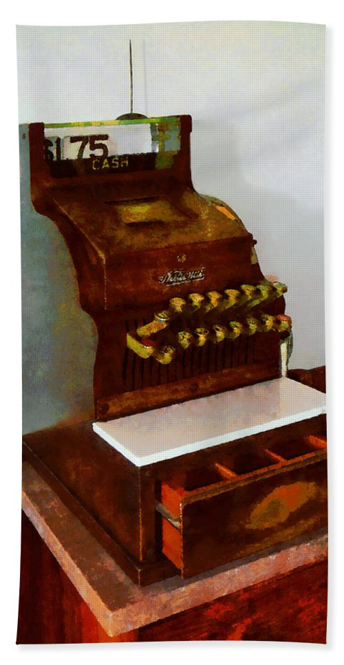 Cash Register Beach Towel featuring the photograph Wooden Cash Register by Susan Savad