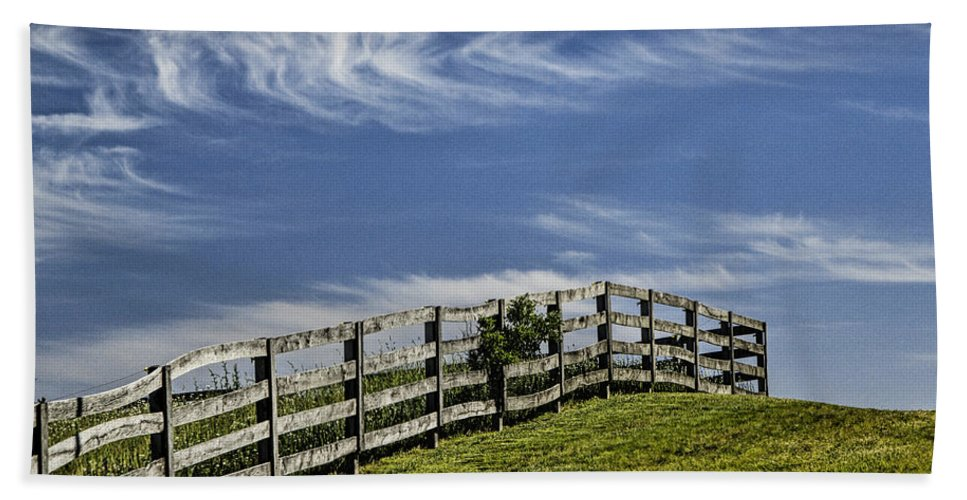 Art Beach Towel featuring the photograph Wooden Farm Fence On Crest Of A Hill by Randall Nyhof