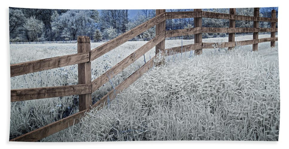 Art Beach Towel featuring the photograph Wooden Fence Of A Friesian Horse Pasture On Windmill Island by Randall Nyhof