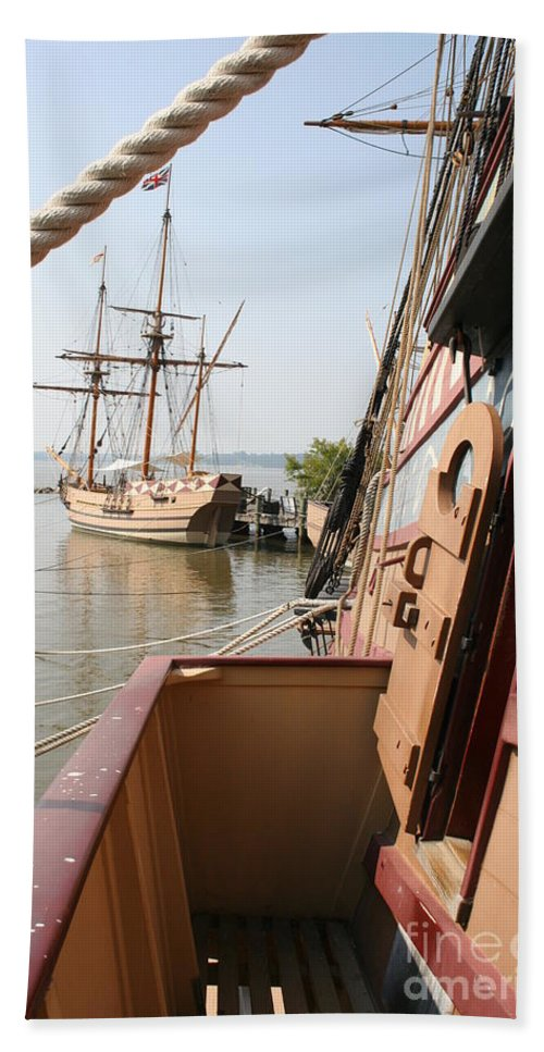 Ship Beach Towel featuring the photograph Wooden Sailingships by Christiane Schulze Art And Photography
