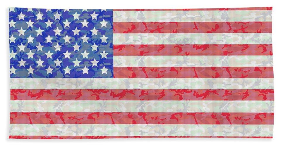 Flag Beach Towel featuring the digital art Woodland Camo Us Flag by Ron  Hedges af347d97e5e