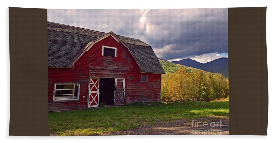 Woodstock Beach Towel featuring the photograph Woodstock Ny Red Barn by Beth Ferris Sale