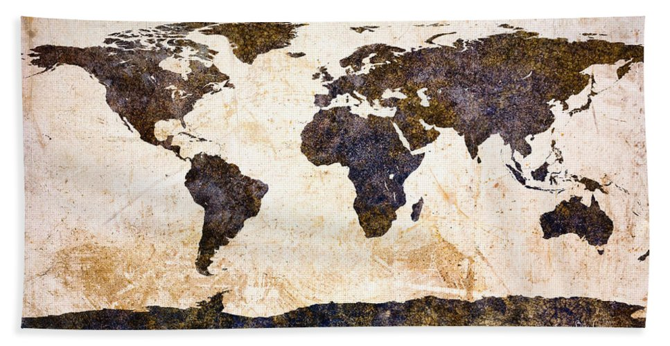 Earth Beach Towel featuring the painting World Map Abstract by Bob Orsillo