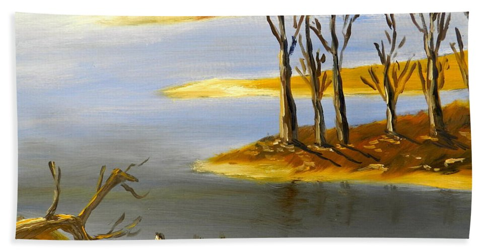 Impressionism Beach Towel featuring the painting Woronorda Dam by Pamela Meredith