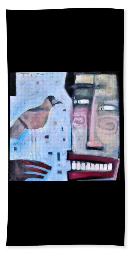 Man Beach Towel featuring the painting Worth Two... by Tim Nyberg