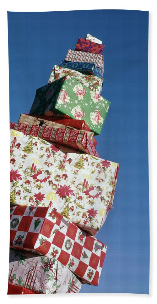 Photography Beach Towel featuring the photograph Wrapped Christmas Present Stacked by Vintage Images