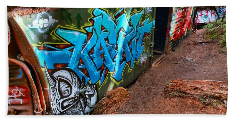 Train Wreck Beach Towel featuring the photograph Wrecked British Columbia Train by Adam Jewell
